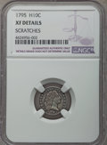 Early Half Dimes, 1795 H10C V-3, LM-4, R.6 -- Scratches -- NGC Details. XF....