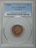 Proof Indian Cents, 1886 1C Variety 2 PR64 Red and Brown PCGS. PCGS Population: (41/20). NGC Census: (7/7). CDN: $800 Whsle. Bid for problem-fr...