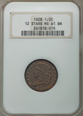 Half Cents, 1828 1/2 C 12 Stars, C-2, B-3, R.2, MS61 Brown NGC. NGC Census: (18/38). PCGS Population: (1/5). Mintage 606,000....