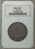 Early Half Dollars, 1806 50C Pointed 6, Stem, O-115, T-17, R.1, VF25 NGC. NGC Census:(5/22). PCGS Population: (1/12). . From The Merrill ...
