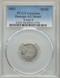 Early Half Dimes: , 1803 H10C Large 8 -- Damage -- PCGS Genuine. AG Details. NGCCensus: (0/34). PCGS Population: (1/100). Mintage 37,850. ...