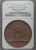 Switzerland: Geneva Officers Reunion bronze Medal 1892 MS65 Brown NGC