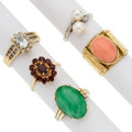 Estate Jewelry:Rings, Diamond, Multi-Stone, Cultured Pearl, Gold Rings. ... (Total: 5Items)
