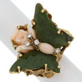 Estate Jewelry:Rings, Nephrite Jade, Coral, Gold Ring. ...