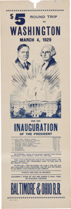 Political:Small Paper (1896-present), Herbert Hoover: Inauguration Train Timetable....