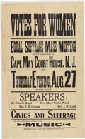 Political:Posters & Broadsides (1896-present), Woman's Suffrage: New Jersey Meeting Broadside on Yellow Paper....