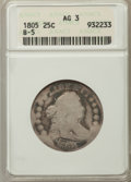 Early Quarters, 1805 25C AG3 ANACS. B-5. NGC Census: (0/234). PCGS Population:(31/651). Mintage 121,394....