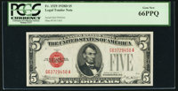 Fr. 1529 $5 1928D Legal Tender Note. PCGS Gem New 66PPQ