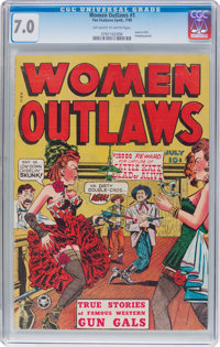 Women Outlaws #1 (Fox Features Syndicate, 1948) CGC FN/VF 7.0 Off-white to white pages