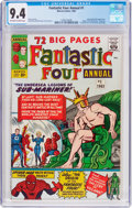 Silver Age (1956-1969):Superhero, Fantastic Four Annual #1 (Marvel, 1963) CGC NM 9.4 Off-white to white pages....