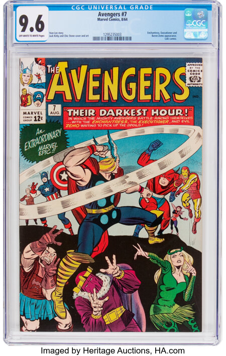 The Avengers #7 (Marvel, 1964) CGC NM+ 9.6 Off-white to white pages....
