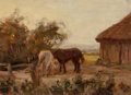 Fine Art - Painting, European:Modern  (1900 1949)  , Peter Paul Hubner (British, 1870-1928). Kitkatts Farm Conroy Island, 1921. Oil on board. 9-3/4 x 13-7/8 inches (24.8 x 3...