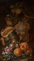 Fine Art - Painting, European, Attributed to Giovanni Antonio Castelli (Italian, 1660-1760). Still Life with Melons, Grapes and Peaches. Oil on canvas...