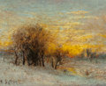 Fine Art - Painting, American, Karl Eugene Felix (1836/7-1906). Winter Landscape at Sunset.Oil on canvas. 8-3/4 x 10 inches (22.2 x 25.4 cm). Signed l...