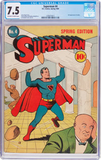 Superman #4 (DC, 1940) CGC VF- 7.5 Off-white to white pages