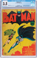 Golden Age (1938-1955):Superhero, Batman #1 (DC, 1940) CGC VG- 3.5 Cream to off-white pages....