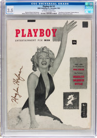 Playboy #1 Signed by Hugh Hefner (HMH Publishing, 1953) CGC VG- 3.5 Off-white to white pages