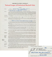 1949 Jackie Robinson Signed Brooklyn Dodgers Contract, National League MVP Season!