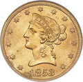 Liberty Eagles, 1853/'2' $10 FS-301 MS62 NGC....