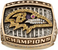 Football Collectibles:Others, 2000 Baltimore Ravens Super Bowl Championship Ring Presented to Fullback Chuck Evans.. ...