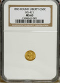California Fractional Gold: , 1853 50C Liberty Round 50 Cents, BG-421, R.4, MS63 NGC. NGC Census:(1/2). PCGS Population (19/18). (#10457)...
