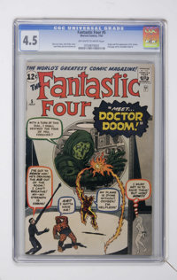 Fantastic Four #5 (Marvel, 1962) CGC VG+ 4.5 Off-white to white pages. Origin and first appearance of Doctor Doom. Jack...