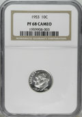 Proof Roosevelt Dimes: , 1953 10C PR68 Cameo NGC. NGC Census: (77/4). PCGS Population (5/0).(#85228)...