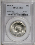 Kennedy Half Dollars: , 1973-D 50C MS66 PCGS. PCGS Population (167/50). NGC Census: (86/7).Mintage: 83,171,400. Numismedia Wsl. Price: $21. (#6721...