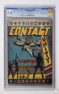 """Contact Comics #8 Davis Crippen (""""D"""" Copy) (Aviation Press, 1945) CGC FN/VF 7.0 Cream to off-white pages. Only..."""