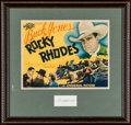 "Movie Posters:Western, Rocky Rhodes (Universal, 1934). Framed and Matted Title Lobby Card (11"" X 14"") & Autographed Card (3.5"" X 2""). Western.. ..."