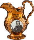 Political:3D & Other Display (pre-1896), William Henry Harrison: Standard Size Copper Luster Pitcher....