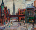 Fine Art - Painting, American, Francis Chapin (American, 1899-1965). Cityscape. Oil oncanvas. 20 x 24 inches (50.8 x 61.0 cm). Signed on the reverse: ...