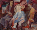 Fine Art - Painting, American, 20th Century School . Mother and Child. Oil on canvas.23-3/4 x 29-1/2 inches (60.3 x 74.9 cm). ...
