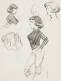 Original Comic Art:Sketches, Frank Frazetta Character Sketches Original Art (c. 1950s)....