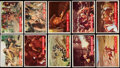 Non-Sport Cards:Lots, 1956 Topps Davy Crockett Green and Orange Collection (282). . ...