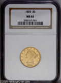 Liberty Half Eagles: , 1855 $5 MS61 NGC. A moderately prooflike Mint State No Motto Five.There are no undue marks in the fields, and the devices ...