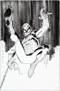 John Romita Jr. and Klaus Janson Avengers V4#1 Gatefold Cover Element Spider-Man Original Art (Marvel, 2010)
