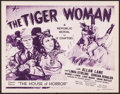 "Movie Posters:Serial, The Tiger Woman (Republic, 1944). Title Lobby Card (11"" X 14""). Chapter 11 -- ""The House of Horror."" Serial.. ..."