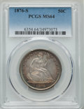 Seated Half Dollars, 1876-S 50C Open Bud, Very Small S, WB-102, MS64 PCGS....