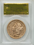 Liberty Double Eagles, 1861 $20 Saddle Ridge Hoard -- Spot Removed -- PCGS Genuine. AU Details....