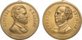 Political:Tokens & Medals, Ulysses S. Grant and Horatio Seymour: Pair of Brass Shell Medalets....