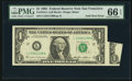 Error Notes:Attached Tabs, Fold Over Error Fr. 1913-L $1 1985 Federal Reserve Note. PMG GemUncirculated 66 EPQ.. ...
