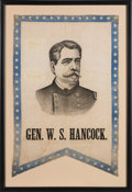 Political:Textile Display (pre-1896), Winfield S. Hancock: Handsome Swallow-tail Portrait Banner....