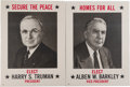 Political:Posters & Broadsides (1896-present), Truman & Barkley: Matching Portrait Posters.... (Total: 2 Items)