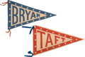 Political:Textile Display (1896-present), William Howard Taft and William Jennings Bryan: Matched Pair of Pennants....