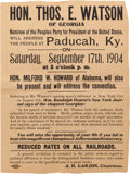 Political:Small Paper (1896-present), Thomas E. Watson: Very Rare People's Party Broadside From 1904....