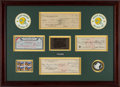 Football Collectibles:Others, 1960's Vince Lombardi Signed Checks Display - Originates from Famous Green Bay Bar (Glory Years).. ...