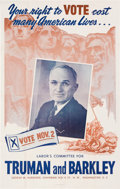 "Political:Posters & Broadsides (1896-present), Harry S. Truman: ""Number One"" Truman Poster from Washington, D.C...."