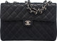 "Chanel Black Caviar Leather Jumbo Classic Single Flap Bag with Silver Hardware Condition: 3 12"" Width x 8"" Hei..."