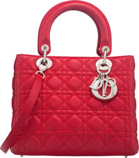"""Christian Dior Red Cannage Quilted Lambskin Leather Medium Lady Dior Bag Condition: 3 9"""" Width x"""